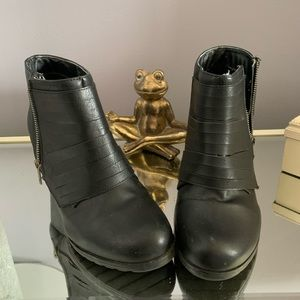 Black Wedge Ankle Booties by Me too. Used size 8.